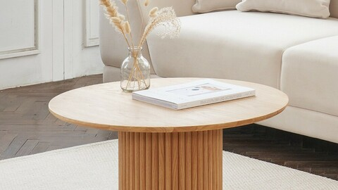Marie round wooden sofa table