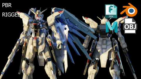 FREEDOM GUNDAM 3d model rigged with texture