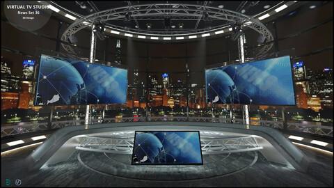Virtual TV Studio News Set 36
