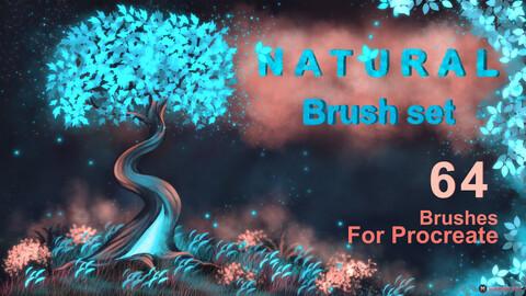 Natural Brush Set | 64 MarMirArt Nature Brushes For Procreate | Leaves | Grass | Bushes Brushes