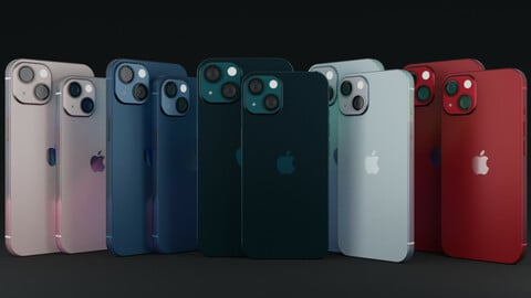 I Phone 13 with all variants with original colors and dimensions 3D model