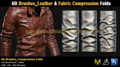 60 Brushes_Leather & Fabric Compression Folds