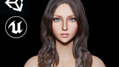 Realtime Long Wavy Female Hairstyle - Game Ready