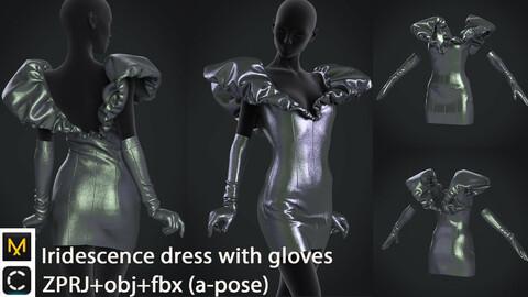 Iridescence dress with gloves   clo3d   marvelous designer
