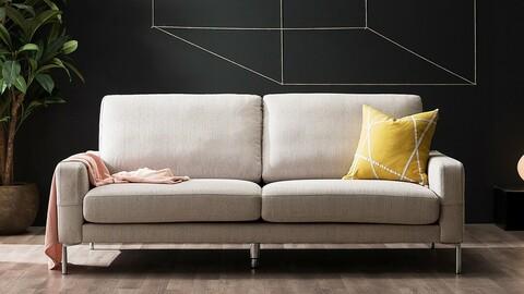Monet 3 person Care Weave fabric sofa