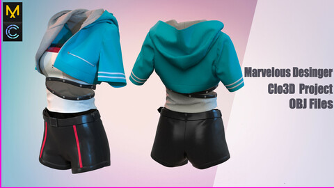 Outfit for girls / Marvelous Desinger/Clo3D Project+OBJ File
