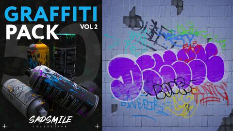 50 Graffiti Decals Vol.2 + Substance Painter Material + UE4 Materials