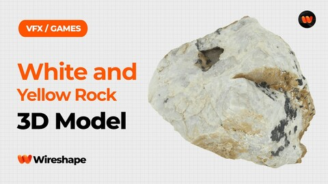 White and Yellow Rock Raw Scanned 3D Model