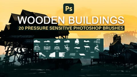 Wooden buildings, houses and cabins pressure sensitive photoshop brush set.