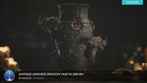 Antique Japanese Dragon Vase in Zbrush | Balazs Domjan