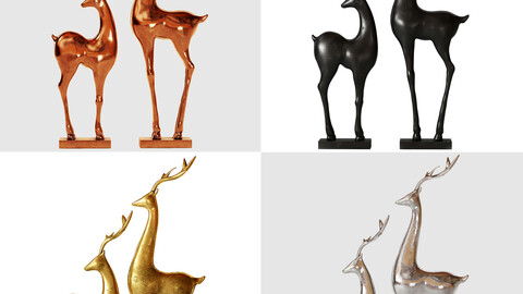 deer statue with 4 pbr materials