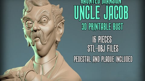 Haunted Mansion Uncle Jacob 3D Printable Bust DELUXE VERSION