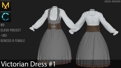 Victorian Dress #1. Marvelous Designer / Clo 3D project +obj