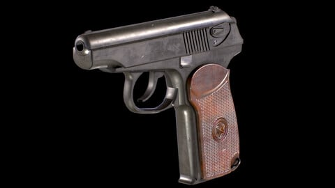 PM Makarov Pistol PBR Worn Low-poly 3D model