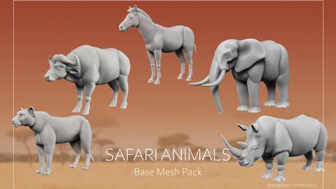Safari Animals Base meshes - Blockout