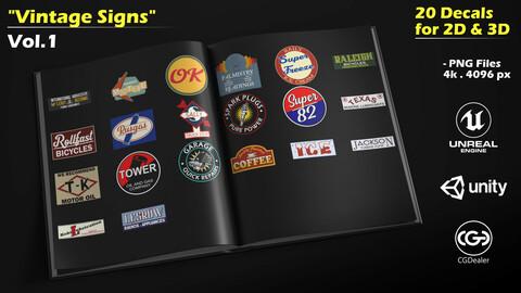 20 Vintage Signs - Decal Pack -Vol.1