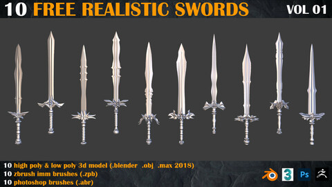 10 free realistic swords 3d model + zbrush brushes + photoshop brushes  _VOL 01
