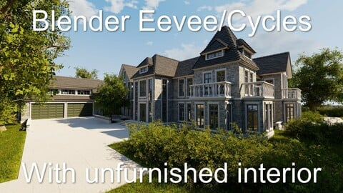 Large Mansion 2021 Blender Eevee and Cycles 1 (without furniture)
