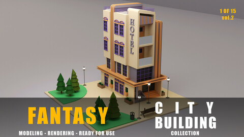 Hotel fantasy building collection low poly city