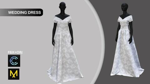 Wedding Dress. Marvelous Designer/Clo3d project + OBJ + FBX