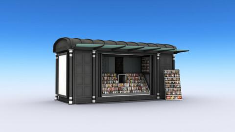 Newspaper Kiosk Low-poly 3D model