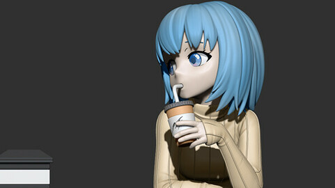 Coffee Girl 3D Figure