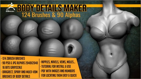 Body Details Maker 124 ZBrush Brushes And 90 Alphas
