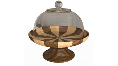 Cake Stand Wooden with Dome