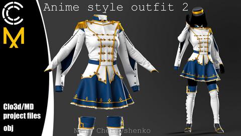 Anime style outfit 2. Marvelous Designer/Clo3d project + OBJ.