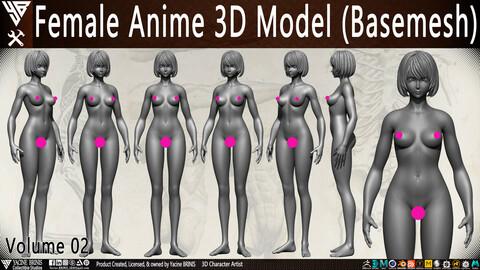 Female Anime 3D Model (Basemesh) Vol 02