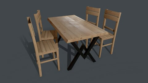 Pine Table and Chair PBR Model 4K Texture