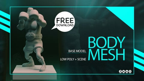 Basic Mesh 3D Model & Toolbag Render Scene