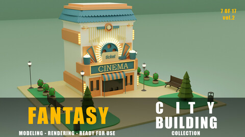 cinema fantasy building collection low poly city