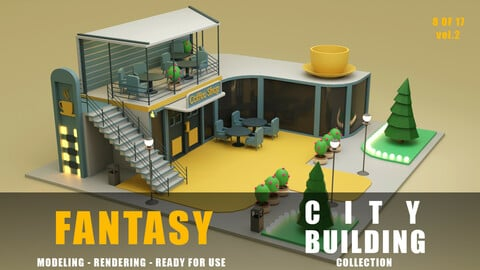 Coffee Shop fantasy building collection low poly city