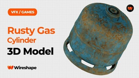 Rusty Gas Cylinder Raw Scanned 3D Model