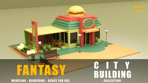 burger shop fantasy building collection low poly city