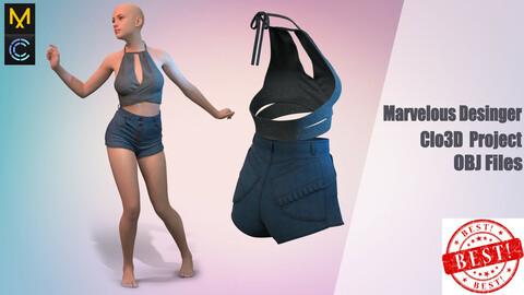 Blouse and shorts / .Marvelous Desinger/Clo3D Project+OBJ File