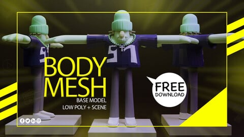 Rigged 3D Model Low Poly Mesh with Textures