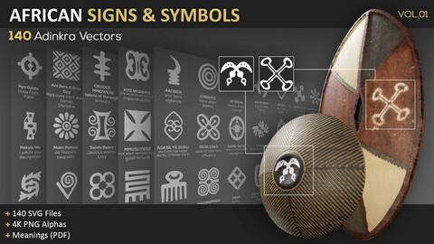 140 African Signs & Symbols Vol.01 (Adinkra Vectors)