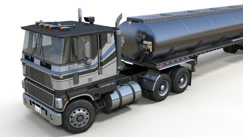 Industrial cabover tanker semitruck