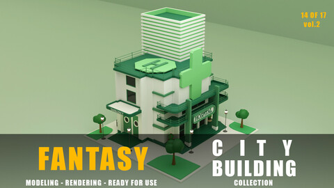 Hospital fantasy building collection low poly city