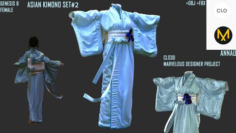GENESIS 8 FEMALE: ASIAN KIMONO SET#2: CLO3D, MARVELOUS DESIGNER PROJECTS: Extended Commercial License| +OBJ +FBX