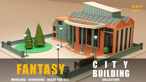 Book store fantasy building collection low poly city