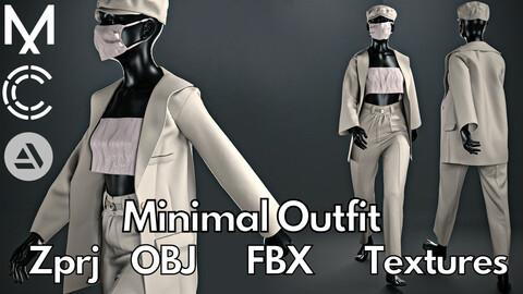 Marvelous Designer + Clo3d + OBJ + FBX + Texture : Minimal oufit