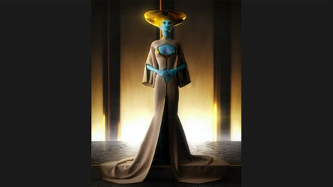 High priestess dress, Marvelous designer project file + obj with 4k textures