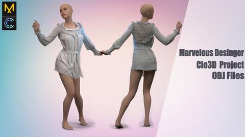 Nightgown /Marvelous Desinger/Clo3D Project+OBJ File