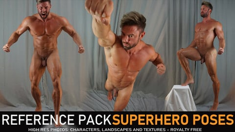 Male Superhero Poses  430 Images Including 360° Turnarounds