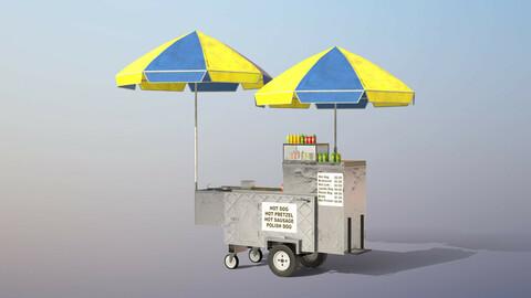 Hot-Dog Cart Low-poly PBR 3D model