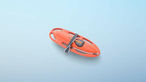 Lifeguard Rescue Buoy PBR Low-poly 3D model