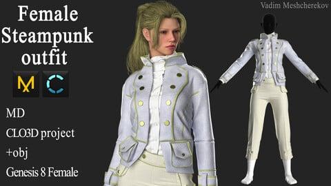 Female steampunk outfit Marvelous Designer / Clo 3D project +obj
